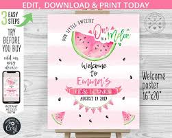 Birthday Guest Book Template Editable Watermelon Welcome Sign 1st First Birthday Party