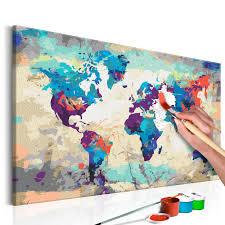 Malen Nach Zahlen Weltkarte Blau Rot Wallpaper Dreamsde