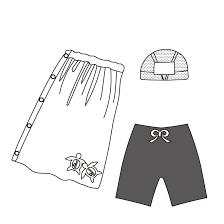 小学生水泳セット男の子 白黒 イラスト 商用フリー無料の