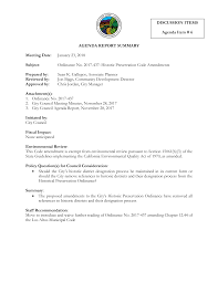 AGENDA REPORT SUMMARY DISCUSSION ITEMS Agenda Item # 6 Meeting Date:  January 23, 2018 Subject: Ordinance No. 2017-437: Historic