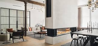 8 wide modern see through fireplace