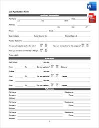 Printable Standard Job Application Form In Word And Pdf