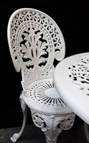 white iron outdoor furniture. Cast Iron Chair White Outdoor Furniture E