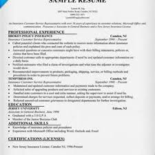 Customer Service Sample Resume Resume Sample Resume For Insurancestomer Service Rep Health Skills 41