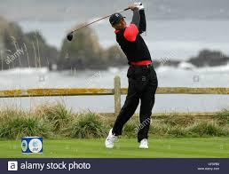 Tiger Woods PGA Golf Golfer swing club Pebble Beach scenic Stock Photo -  Alamy