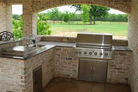 Countertop For Outdoor Kitchen European Style Outdoor Patio Kitchen Design With Rustic Brick F