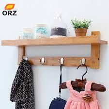 Coat Hook Rack With Shelf Inspiration ORZ Bamboo Wall Shelf Coat Hook Rack With 32 Alloy Hooks Bedroom