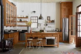 kitchen furniture ideas. Wooden Island And Round Stools Completing Vintage Kitchen Decorating Ideas With Black Granite Countertop Furniture T