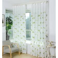 white polyester sheer curtains embroidery with bug green fl pattern