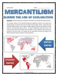 Mercantilism Chart Mercantilism During The Age Of Exploration Reading
