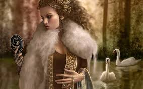 Woman holding mirror wearing a coat painting HD wallpaper