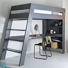 desk julien kids loft bed desk in brushed grey pine low loft bed with storage