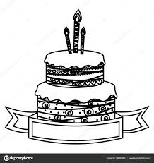 Sketch Silhouette Birthday Cake Two Floors With Candles And Ribbon