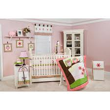 pink owl crib bedding sets