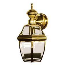 secure home hanging carriage 14 5 in h polished brass motion activated outdoor wall light