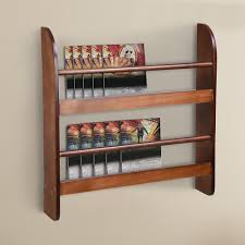 2 tier wood wall mounted bookshelf floating shelf book rack organizer display home brown 0