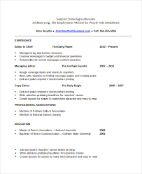 Chronological Resume Template Chronological Resume Template 23 Free Samples  Examples Format Templates
