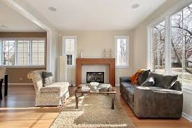 living room with electric fireplace in the back and no chimney