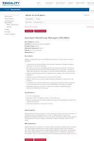 Assistant Warehouse Manager Job Description Assistant Warehouse Manager Job At Engility Corporation In