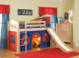 ... Cozy Bedroom Interior Design With Cool Bunk Beds For Kids Decorating  Ideas : Fancy Blue Sheet ...