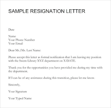 Sample Of Resignation Letter With Notice Rightarrow Template Database