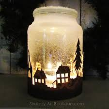 Decorated Jam Jars For Christmas Shabby Art Boutique How To Make A Christmas Township Candle Jar 61