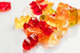 Light Gummy Bears Gummi Bears Close Up On A Light Background