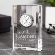 engraved diamond wedding anniversary mantel clock image