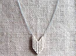 wooden chevron cross stitch blank stainless steel necklace 1