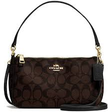 Coach Messico Top Handle Pouch In Signature Crossbody Bag Handbag Black  Brown   F58321 + Gift