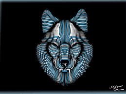 Wallpaper Abstract wolf face, lines ...
