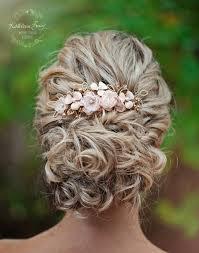 Or Rose Et Les Cheveux De Mariage Rose Blush Peigner Voile