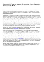 commercial property agents prospecting letter strategies that actua