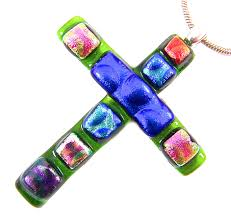 details about cross pendant slide dichroic fused glass green blue rainbow recycled dicro 1 75