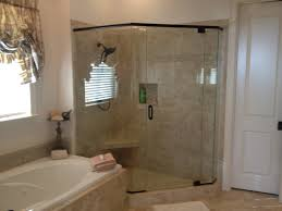 bathtub and neo angle shower with bathroom fixtures plus glass shower door