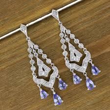 14k white gold 2 00 ct tanzanite 0 25 ct diamond antique des chandelier earrings