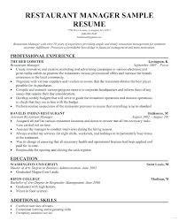 Restaurant Manager Job Description Resume Resume Summary Examples
