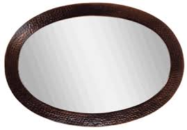 26 12 Inch Solid Copper Frame Oval Mirror Antique Copper Finish