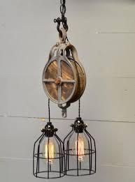 pulley lighting. wnv wood and steel pulley lighting u
