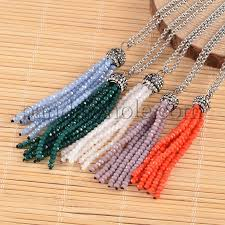faceted glass beaded tassel pendant necklaces with 304 stainless steel rolo chains 27 55 70cm 00h9de