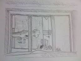 window pencil drawing. window view pencil drawing c