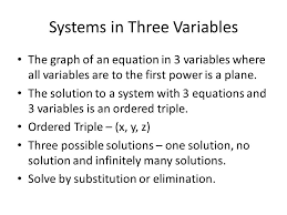 2 systems in three variables