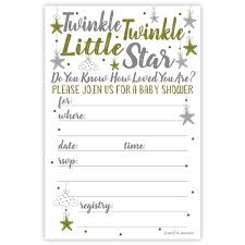Baby Shower Invitations Template Twinkle Twinkle Little Star Baby Shower Invitations 20 Count With Envelopes