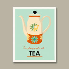 Retro Kitchen Decor Accessories Kitchen Contempo Image Of Light Blue And Orange Floral Tea Pot 55