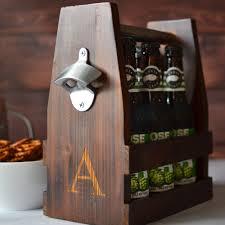 rustic wood craft beer bottle carrier personalized with single intial personalized rustic wood 6 pack