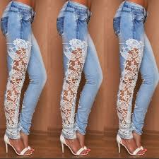 Sexy Woman Jeans Side Stitching Lace Stretch Denim Trousers Sexy Pants Plus Size S 3xl Please Refer Size Chart Before Purchasing