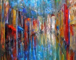 abstract cityscape art street scene painting original painting by debra hurd