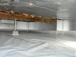 a a sealed insulated and structurally repaired crawl space