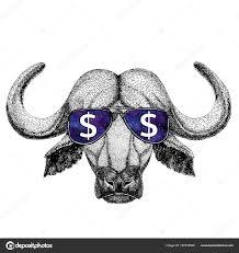 буффало бык бык носить очки с знак доллара иллюстрации с диких
