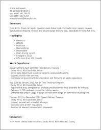 Resume Templates: Class B Cdl Driver